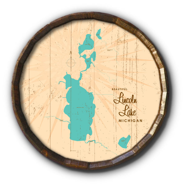 Lincoln Lake Michigan, Rustic Barrel End Map Art