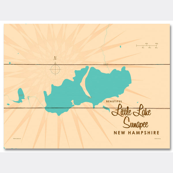 Little Lake Sunapee New Hampshire, Wood Sign Map Art