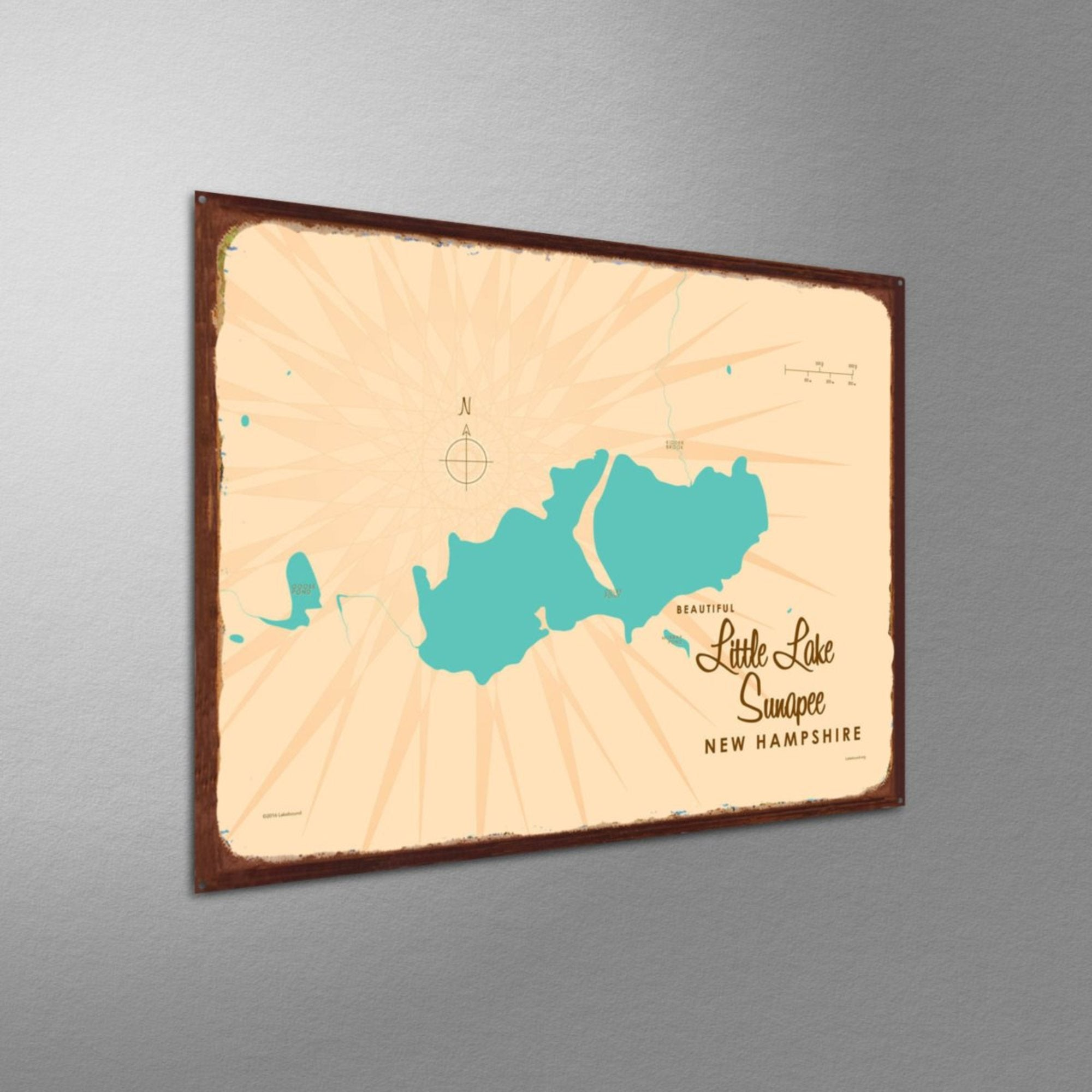 Little Lake Sunapee New Hampshire, Rustic Metal Sign Map Art