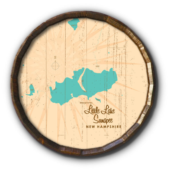 Little Lake Sunapee New Hampshire, Rustic Barrel End Map Art