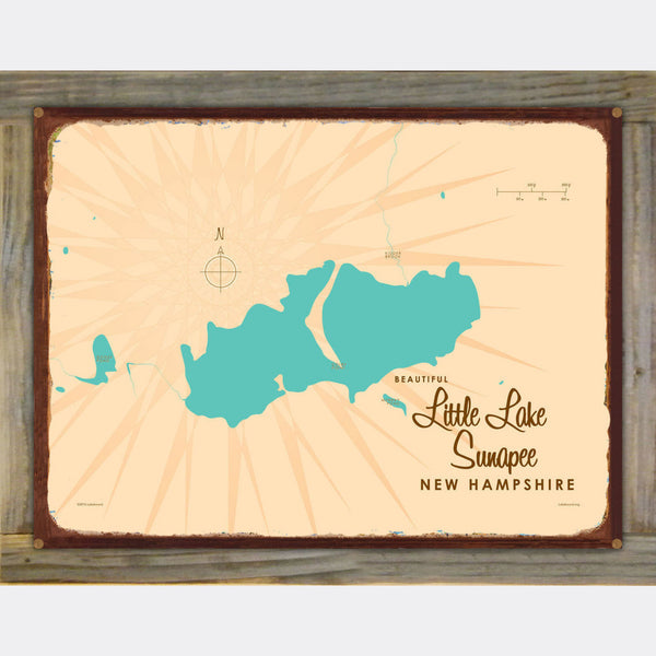 Little Lake Sunapee New Hampshire, Wood-Mounted Rustic Metal Sign Map Art