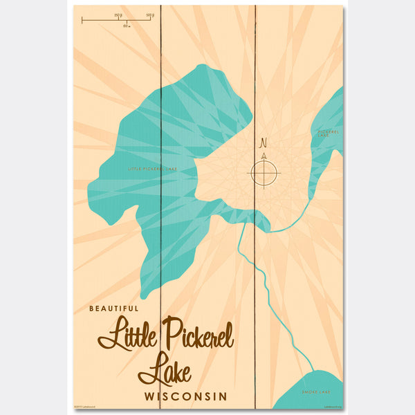 Little Pickerel Lake Wisconsin, Wood Sign Map Art