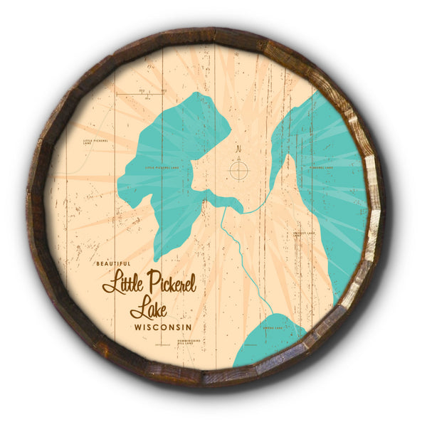 Little Pickerel Lake Wisconsin, Rustic Barrel End Map Art
