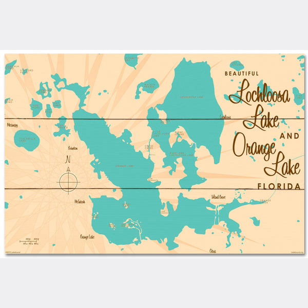 Lochloosa & Orange Lakes Florida, Wood Sign Map Art
