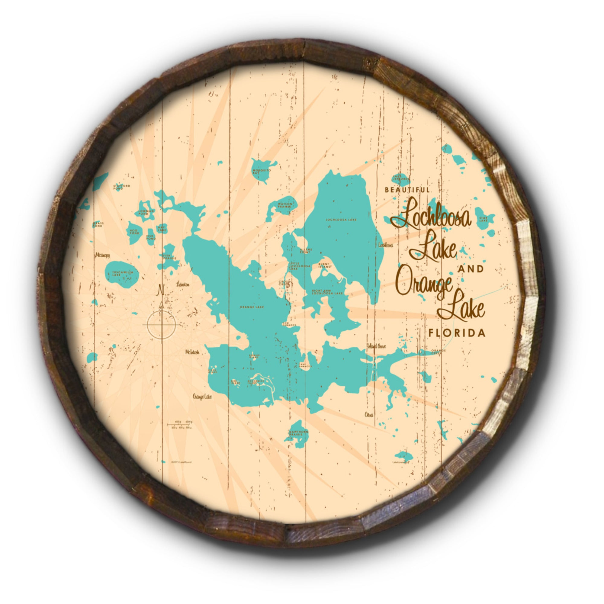 Lochloosa & Orange Lakes Florida, Rustic Barrel End Map Art