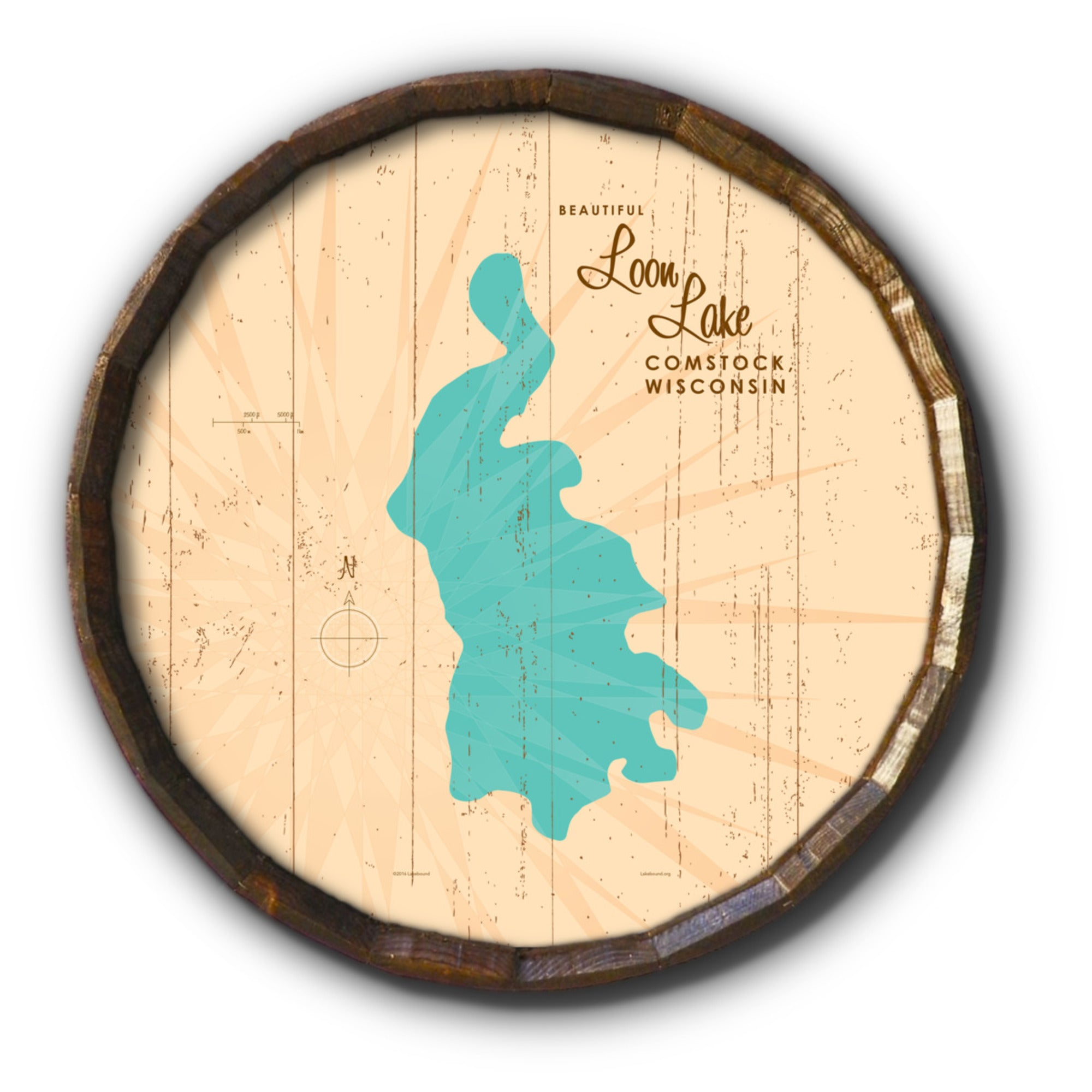 Loon Lake Wisconsin, Rustic Barrel End Map Art