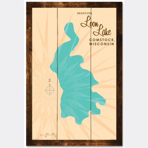 Loon Lake Wisconsin, Rustic Wood Sign Map Art