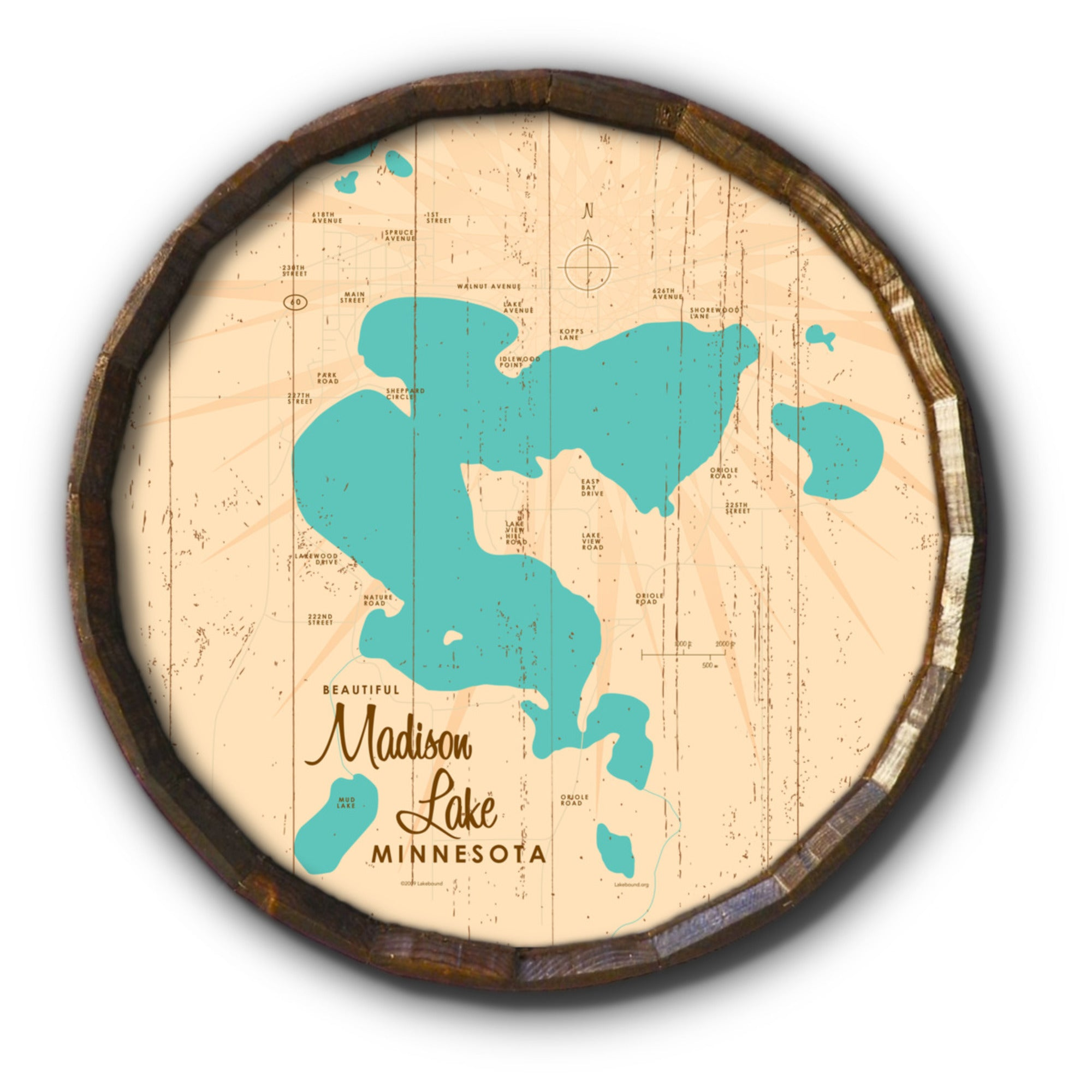 Madison Lake Minnesota, Rustic Barrel End Map Art