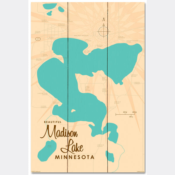 Madison Lake Minnesota, Wood Sign Map Art