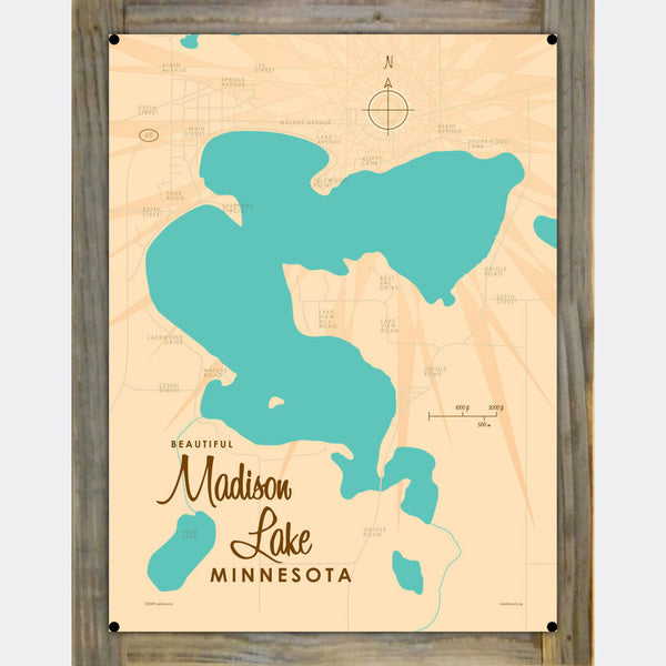 Madison Lake Minnesota, Wood-Mounted Metal Sign Map Art