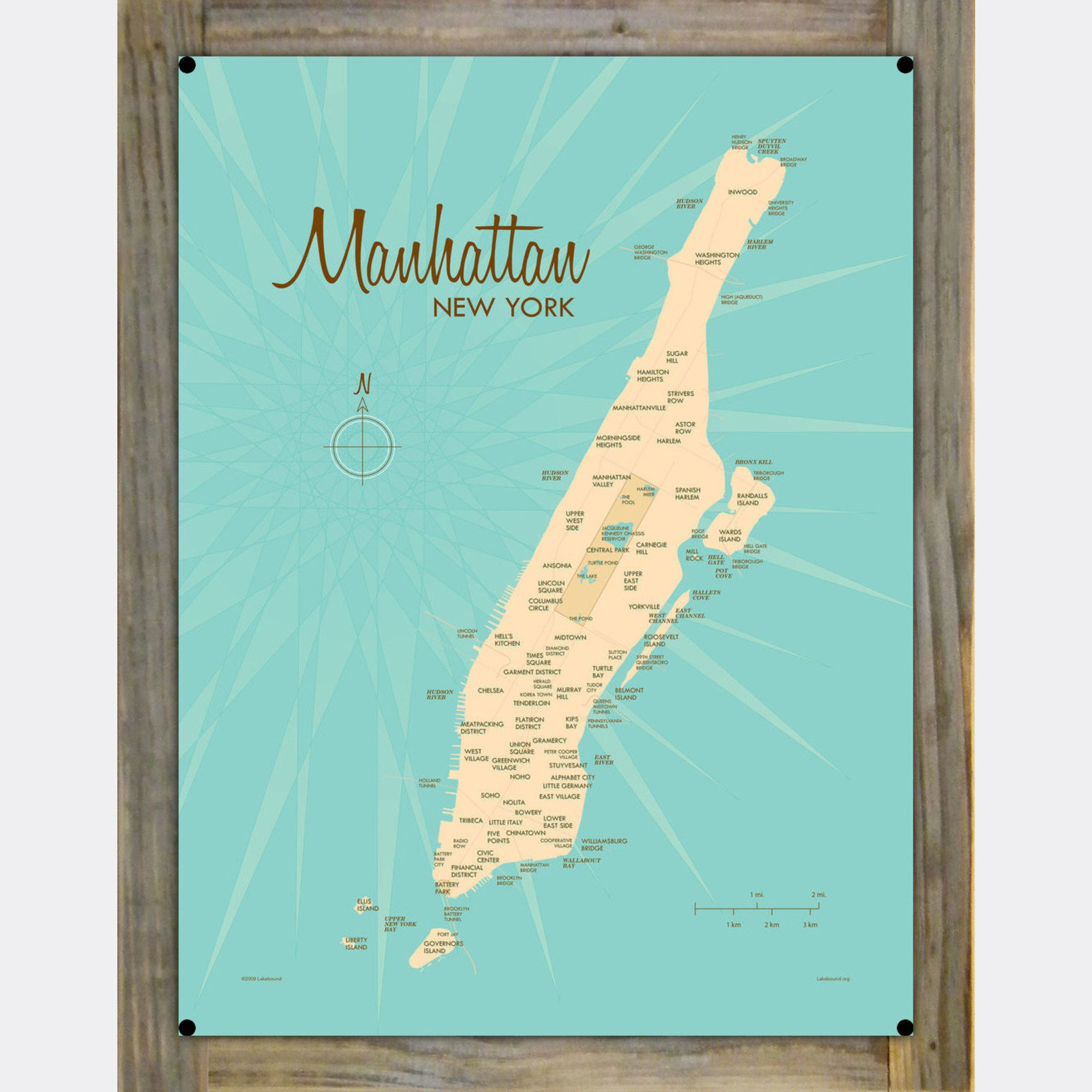 Manhattan Map, Wood-Mounted Metal Sign Map Art