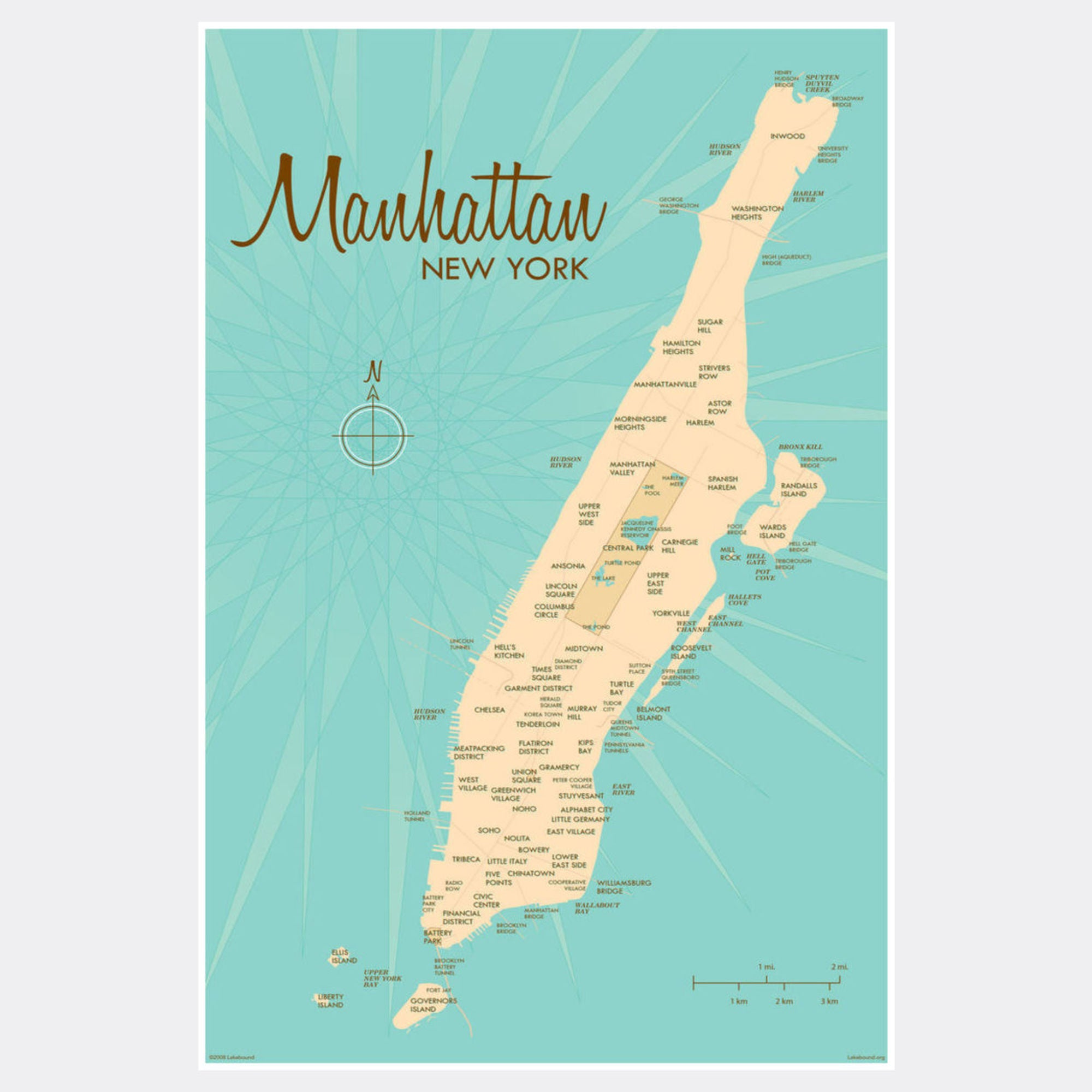 Manhattan Map, Paper Print