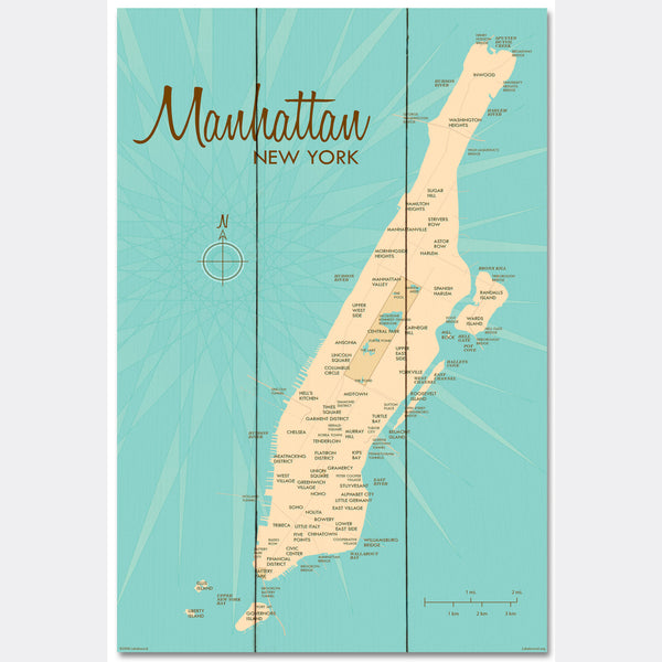 Manhattan Map, Wood Sign Map Art
