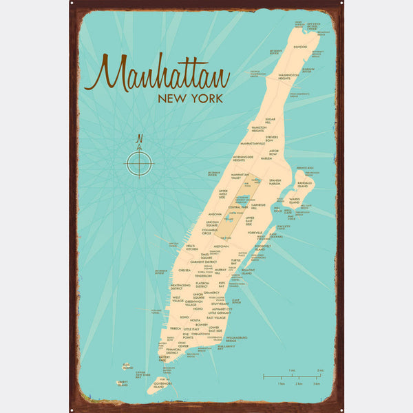 Manhattan Map, Rustic Metal Sign Map Art