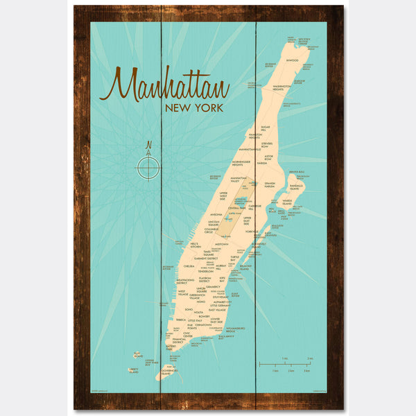 Manhattan Map, Rustic Wood Sign Map Art