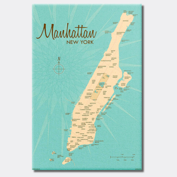 Manhattan Map, Canvas Print