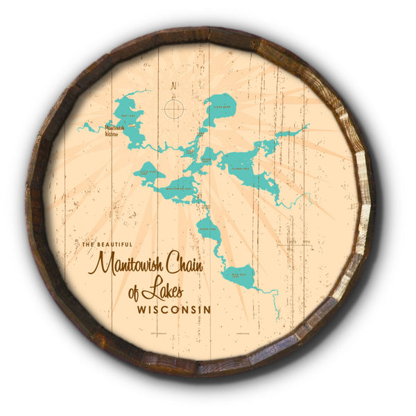 Manitowish Chain of Lakes Wisconsin, Rustic Barrel End Map Art