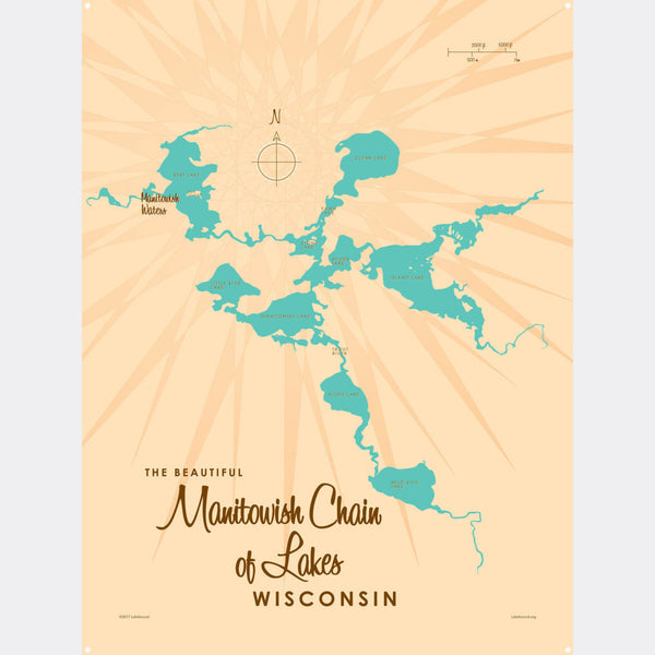 Manitowish Chain of Lakes Wisconsin, Metal Sign Map Art