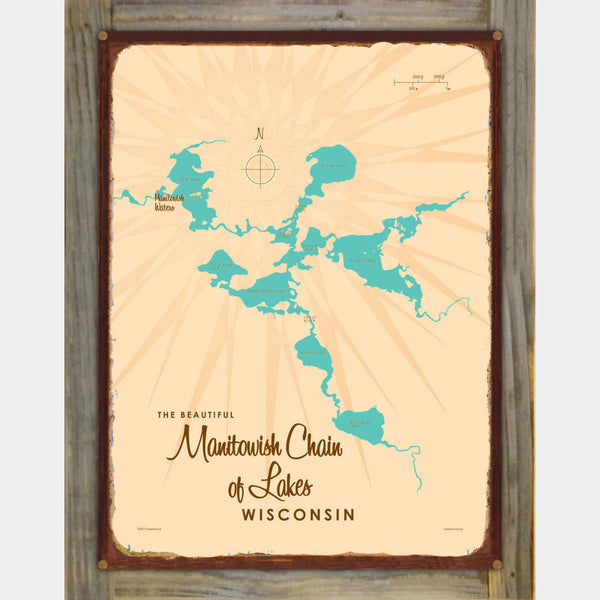 Manitowish Chain of Lakes Wisconsin, Wood-Mounted Rustic Metal Sign Map Art