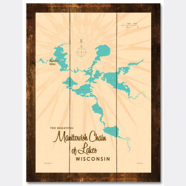 Manitowish Chain of Lakes Wisconsin, Rustic Wood Sign Map Art