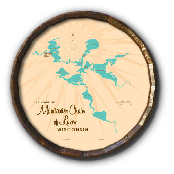 Manitowish Chain of Lakes Wisconsin, Barrel End Map Art
