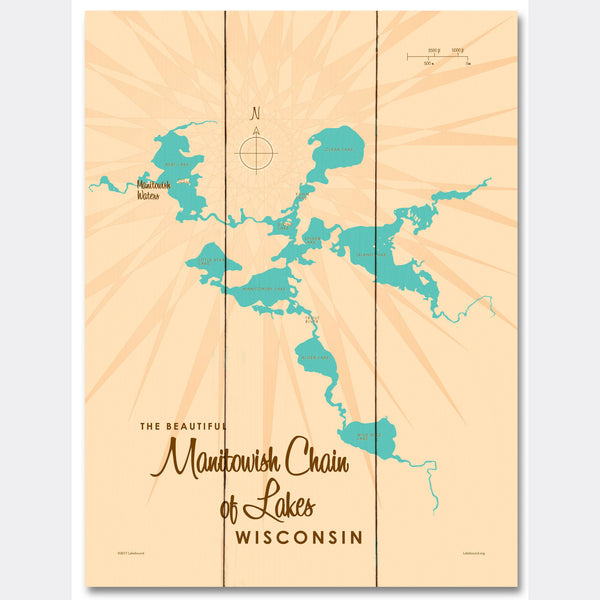 Manitowish Chain of Lakes Wisconsin, Wood Sign Map Art