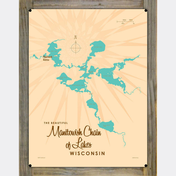 Manitowish Chain of Lakes Wisconsin, Wood-Mounted Metal Sign Map Art