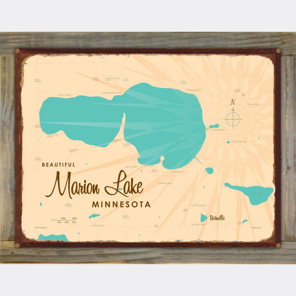 Marion Lake Minnesota, Wood-Mounted Rustic Metal Sign Map Art