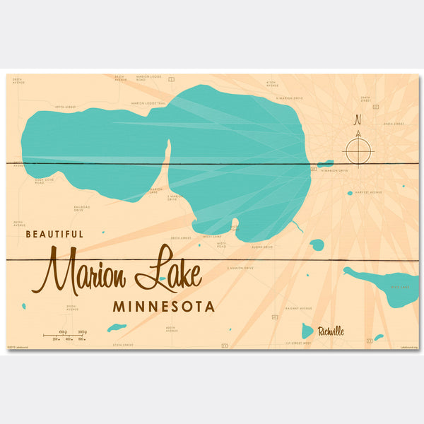 Marion Lake Minnesota, Wood Sign Map Art