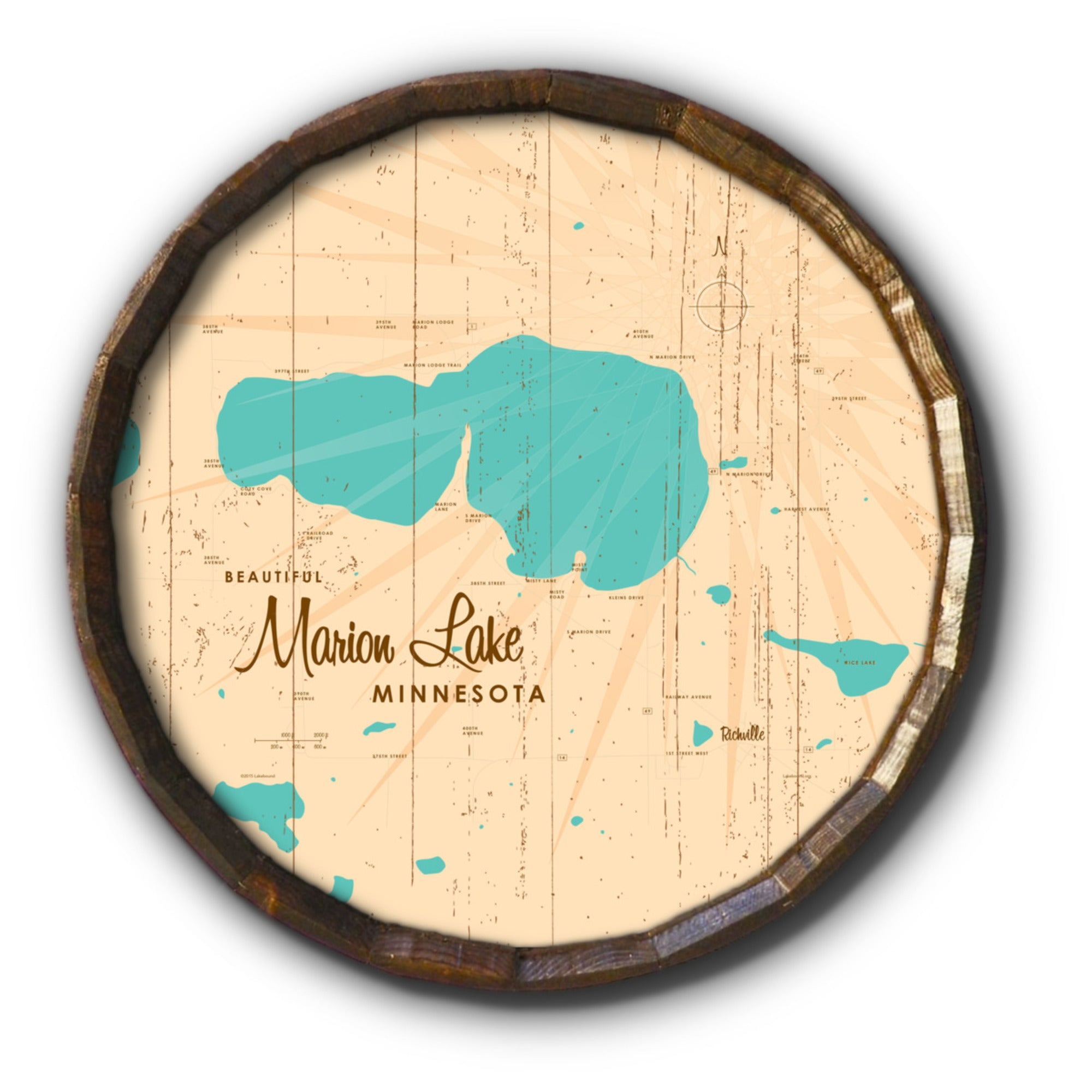 Marion Lake Minnesota, Rustic Barrel End Map Art