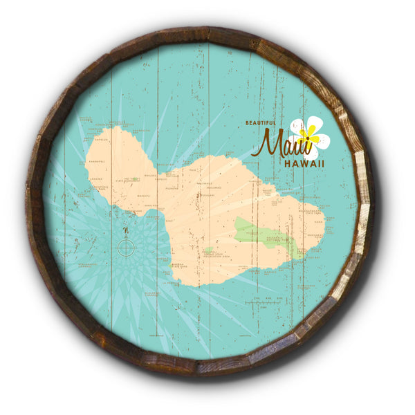 Maui, Rustic Barrel End Map Art