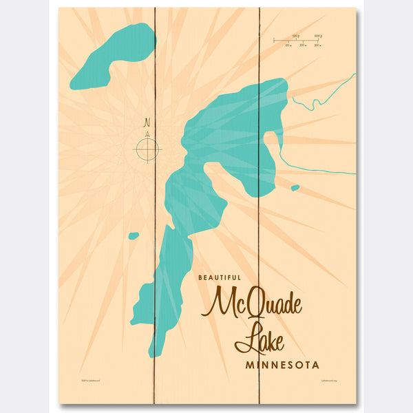 McQuade Lake Minnesota, Wood Sign Map Art