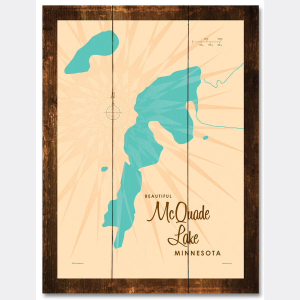 McQuade Lake Minnesota, Rustic Wood Sign Map Art