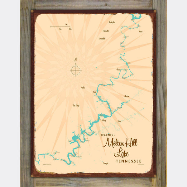 Melton Hill Lake Tennessee, Wood-Mounted Rustic Metal Sign Map Art