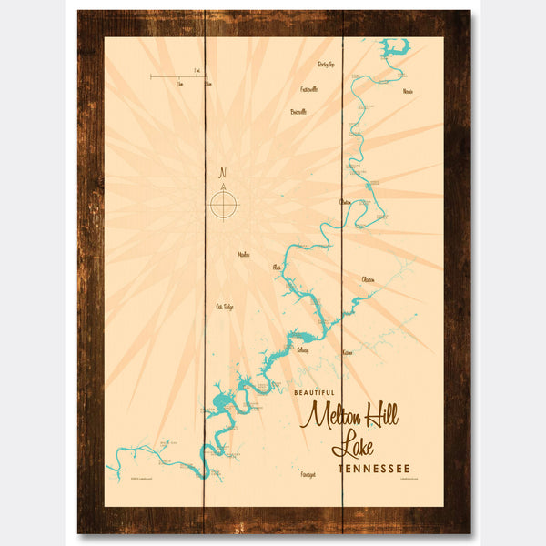 Melton Hill Lake Tennessee, Rustic Wood Sign Map Art