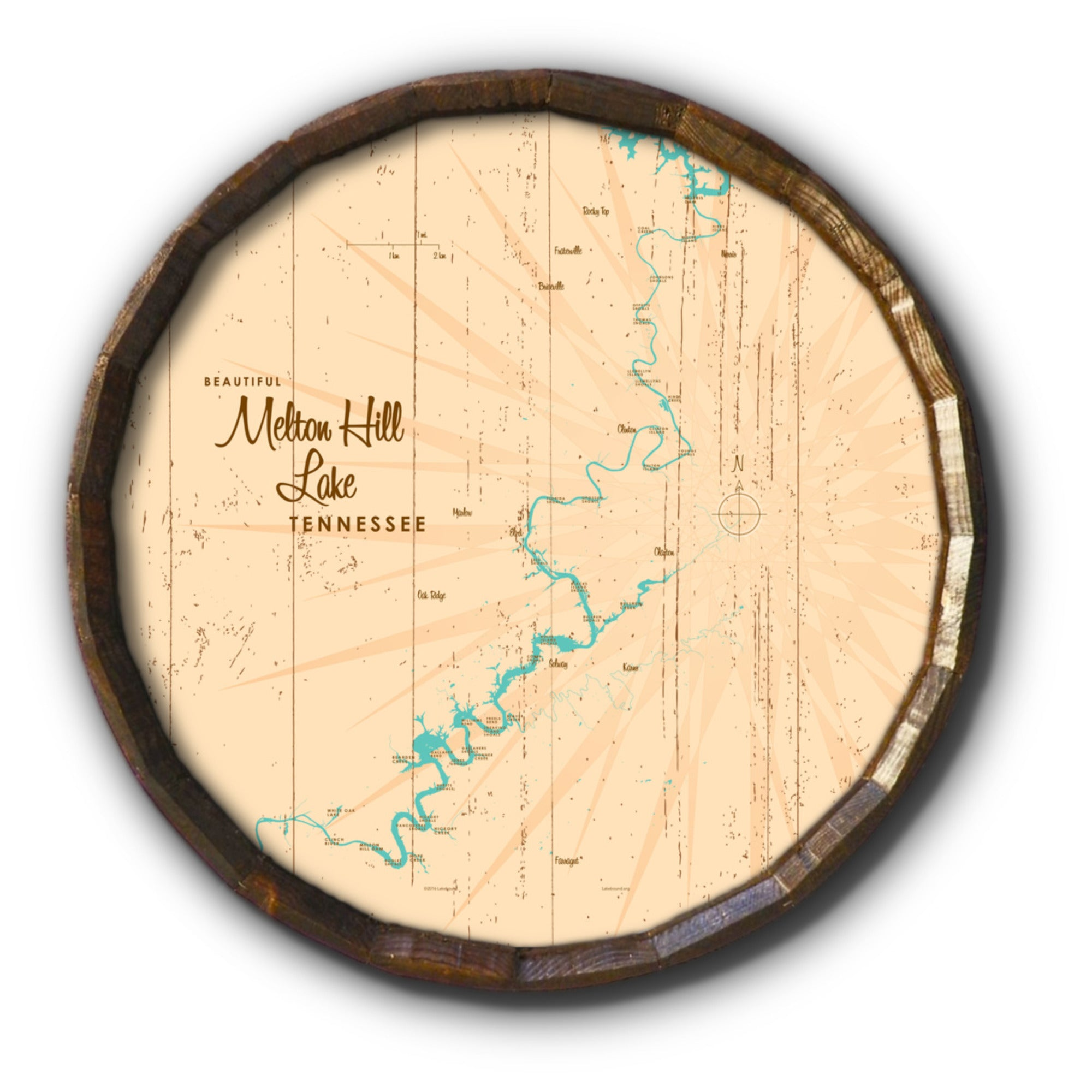 Melton Hill Lake Tennessee, Rustic Barrel End Map Art