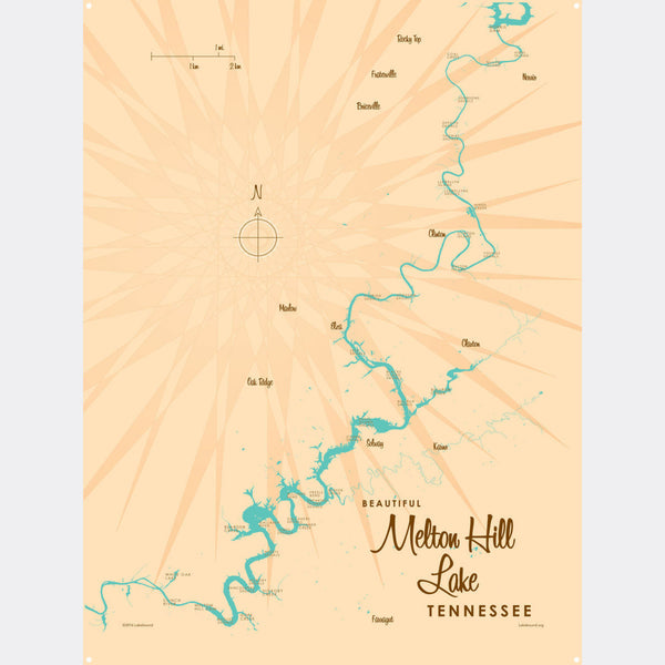 Melton Hill Lake Tennessee, Metal Sign Map Art