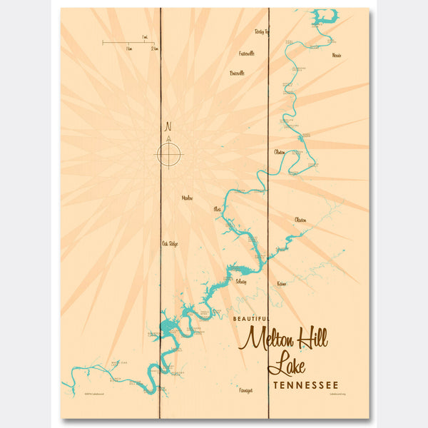 Melton Hill Lake Tennessee, Wood Sign Map Art