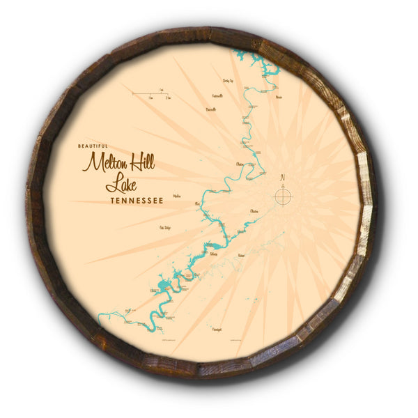 Melton Hill Lake Tennessee, Barrel End Map Art