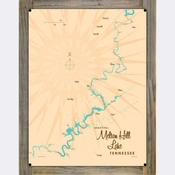 Melton Hill Lake Tennessee, Wood-Mounted Metal Sign Map Art