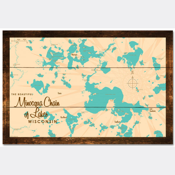 Minocqua Chain Wisconsin, Rustic Wood Sign Map Art