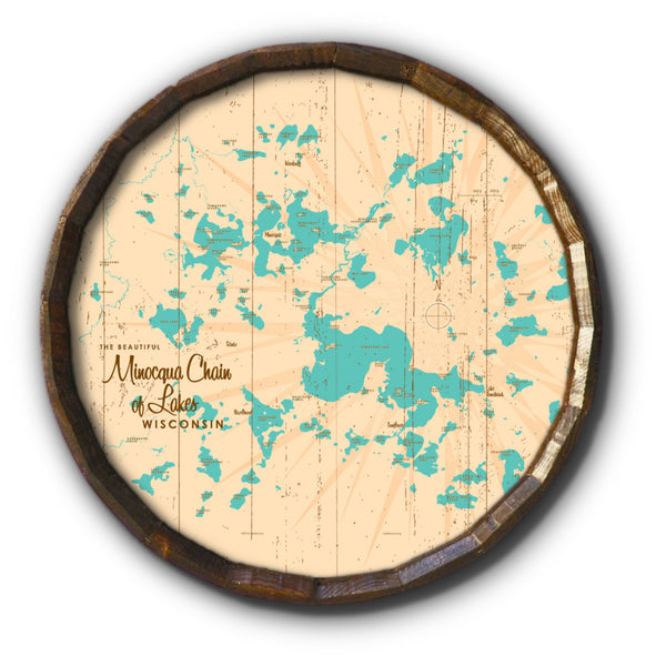 Minocqua Chain Wisconsin, Rustic Barrel End Map Art