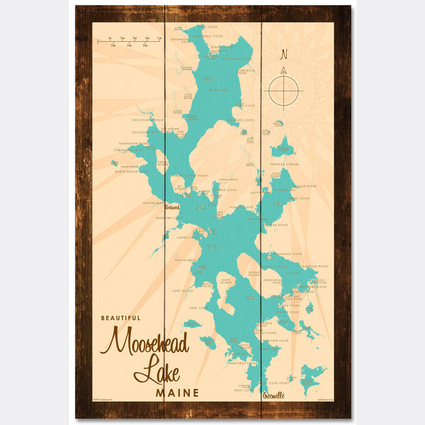 Moosehead Lake Maine, Rustic Wood Sign Map Art