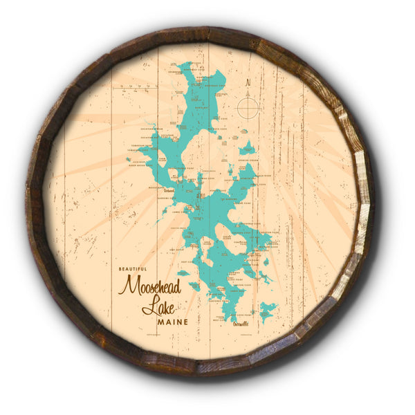 Moosehead Lake Maine, Rustic Barrel End Map Art