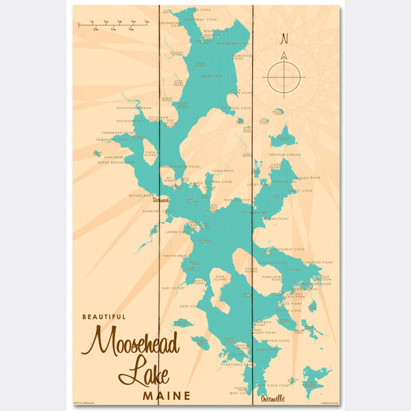 Moosehead Lake Maine, Wood Sign Map Art