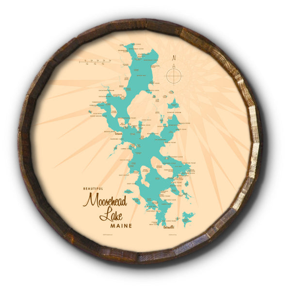 Moosehead Lake Maine, Barrel End Map Art