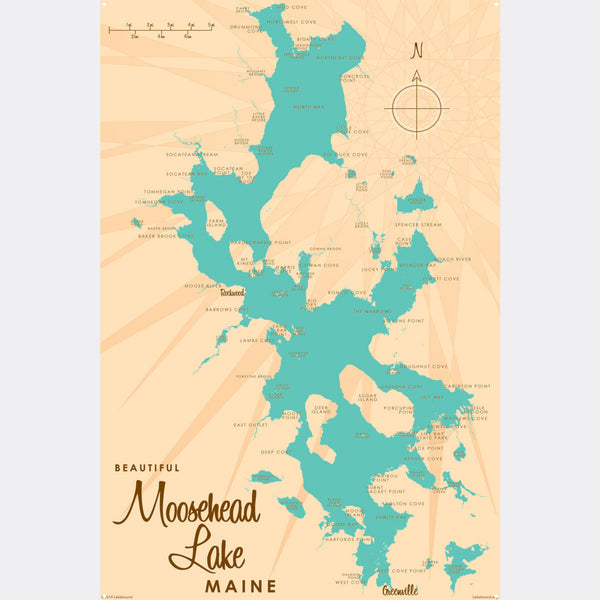 Moosehead Lake Maine, Metal Sign Map Art