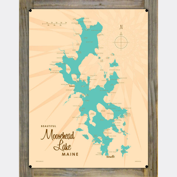 Moosehead Lake Maine, Wood-Mounted Metal Sign Map Art
