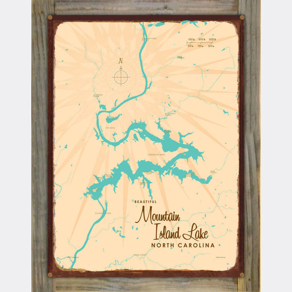 Mountain Island Lake North Carolina, Wood-Mounted Rustic Metal Sign Map Art