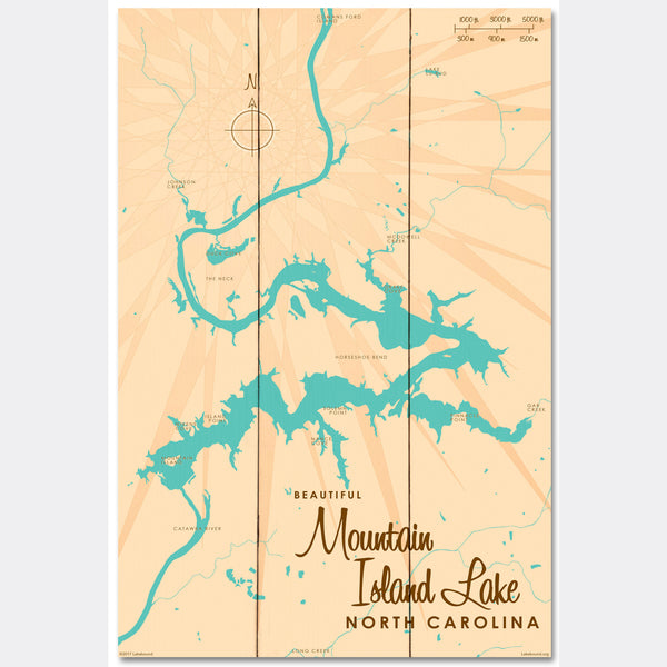 Mountain Island Lake North Carolina, Wood Sign Map Art